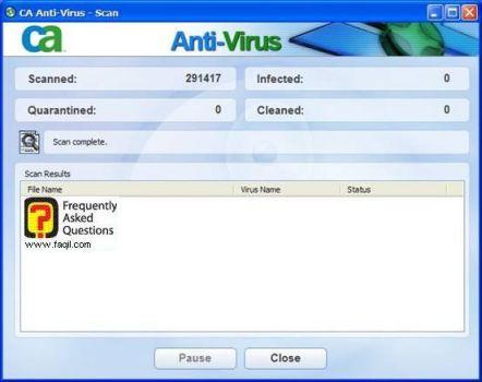 תוצאות סריקה, ca anti virus