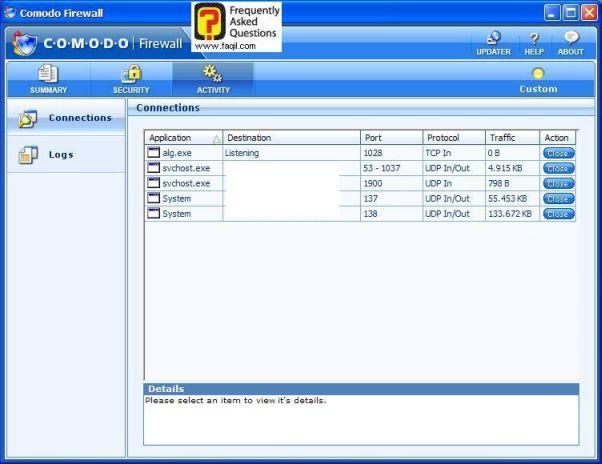 בחירה ב-activity  לבדוק חיבורים של המחשב, Comodo