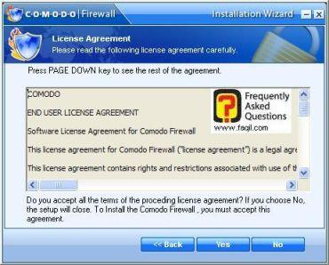 מסך תנאי שימוש, Comodo