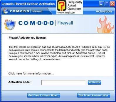 רישום קוד אקטיבציה, Comodo