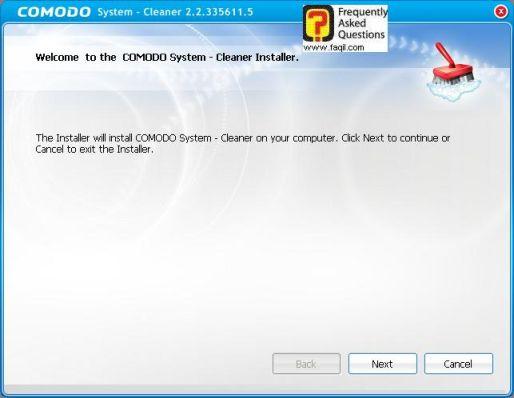 מסך ברוכים הבאים להתקנה,תוכנתComodo Registry Cleaner