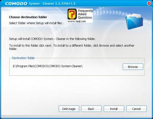 מסך מיקום היעד להתקנה,תוכנתComodo Registry Cleaner