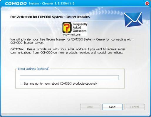 סיום ההתקנה,תוכנתComodo Registry Cleaner
