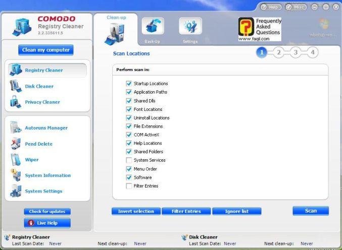 מסך מה ינוקה לכם בריגסטרי,תוכנתComodo Registry Cleaner