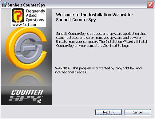 מסך ברוכים הבאים,לתוכנת האנטי רוגלה counterspy