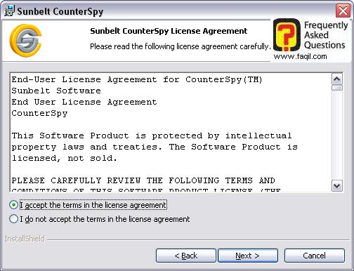 מסך הסכם הרישיון,לתוכנת האנטי רוגלה counterspy