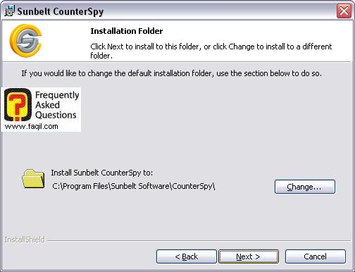 הנתיב שבו תותקן התוכנה,לתוכנת האנטי רוגלה counterspy