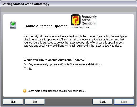 מסך האם לאפשר עידכונים אוטומטים או לא,לתוכנת האנטי רוגלה counterspy