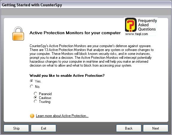 אופציה זו מאפשרת לנו הפעלת הגנה בזמן אמת,לתוכנת האנטי רוגלה counterspy