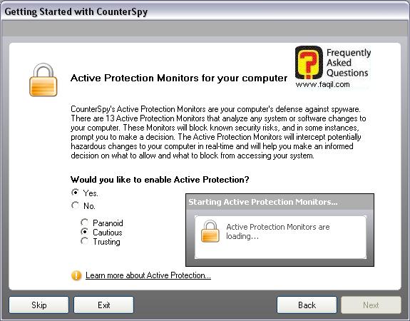 התוכנת טוענת את מצב ההגנה בו בחרנו,לתוכנת האנטי רוגלה counterspy