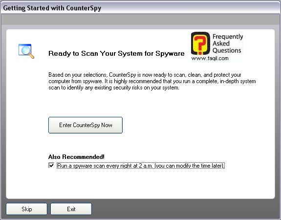 סריקה על ידי התוכנה בכל לילה,תוכנת האנטי רוגלה counterspy