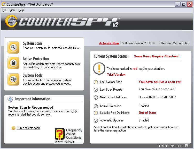 המסך הראשי,תוכנת האנטי רוגלה counterspy