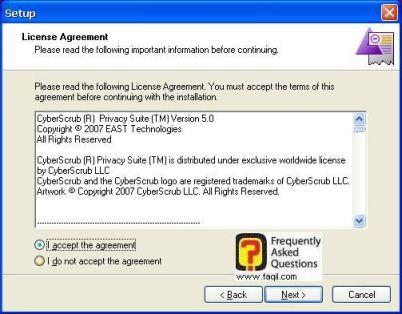 מסך תנאי שימוש,CyberScrub Privacy Suite