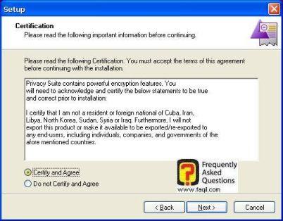 מסך הצהרה,CyberScrub Privacy Suite