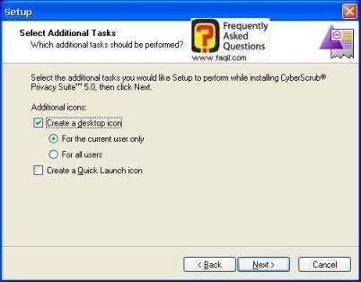 מסך בחירת קיצור דרך לשולחן העבודה,CyberScrub Privacy Suite