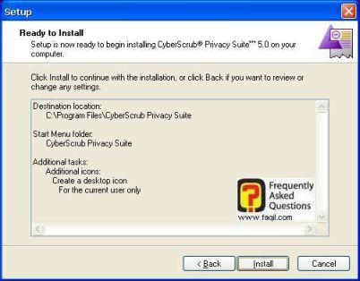 מסך קרא לפני ההתקנה,CyberScrub Privacy Suite