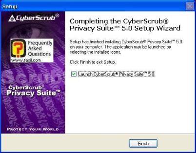 ההתקנה תחל, בסיומה בחרו בסיים,CyberScrub Privacy Suite
