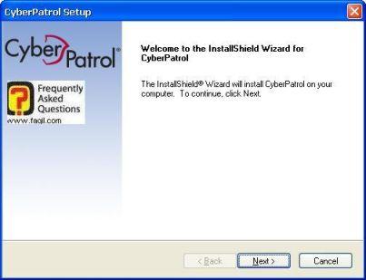 מסך ברוכים הבאים להתקנה, תוכנת  CyberPatrol