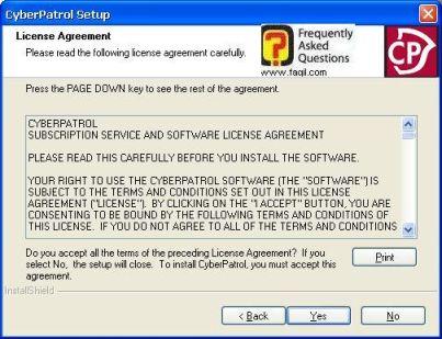 מסך הסכמה לתנאי הרישיון, תוכנת  CyberPatrol