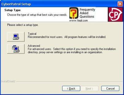 בחירת סוג התקנה, תוכנת  CyberPatrol