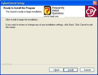 בחרו בהתקנה, תוכנת  CyberPatrol