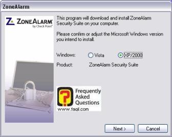 מסך בחירת מערכת הפעלה להתקנה,מרכז האבטחה zone alarm