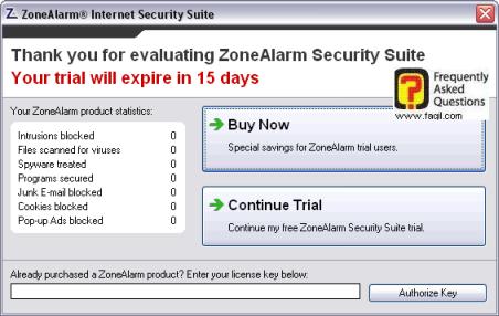 הודעה שהתוכנה לניסיון,מרכז האבטחה zone alarm