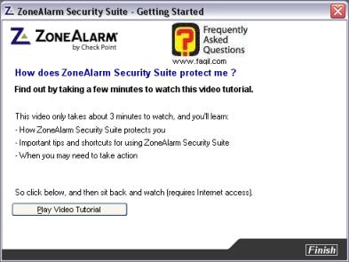 אפשרות לראות בוידאו איך התוכנה עובדת,מרכז האבטחה zone alarm