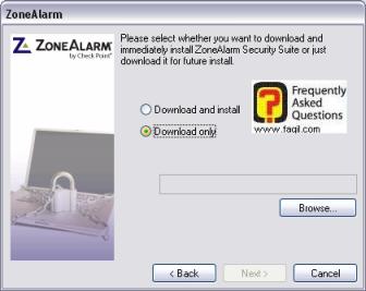 מסך האם הכלי יוריד ויתקין את התוכנה,מרכז האבטחה zone alarm