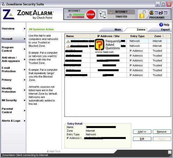 מסך כתובות האיפי ושמות של שרתים ואתרים,מרכז האבטחה zone alarm