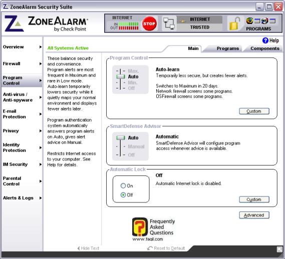 מסך שליטה בתוכנית,מרכז האבטחה zone alarm