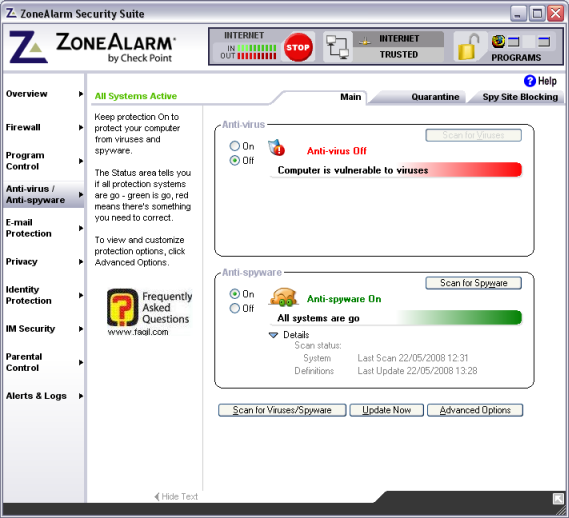 מסך אנטי רוגלה,מרכז האבטחה zone alarm