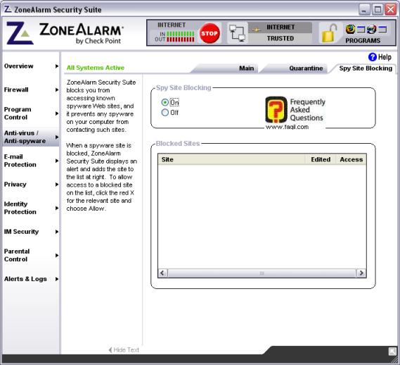 לשונית חסימה נוכל לראות אלו אתרים  התוכנה חוסמת מאיתנו,מרכז האבטחה zone alarm