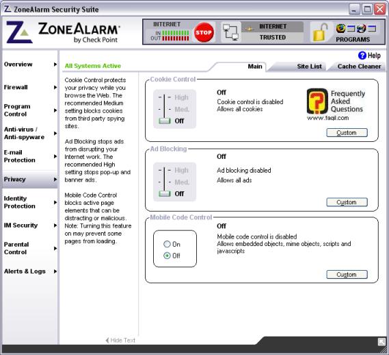 לשונית פרטיות,מרכז האבטחה zone alarm