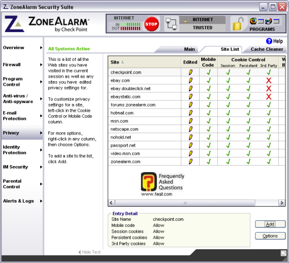 לשוניתsite list,מרכז האבטחה zone alarm