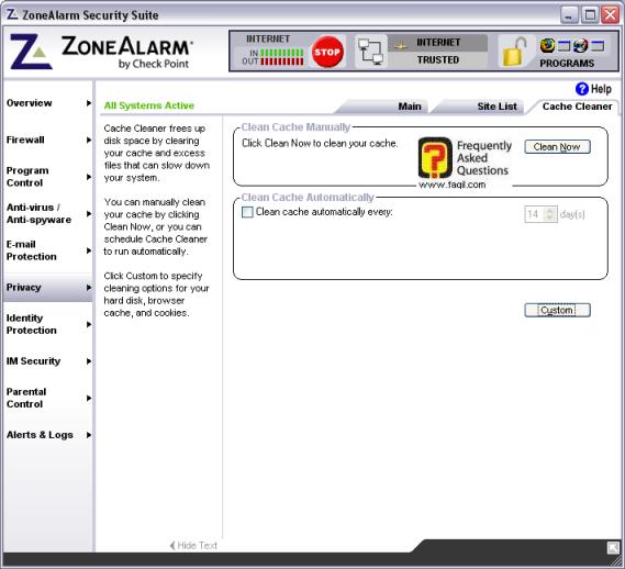 לשונית cache cleaner, מרכז האבטחה zone alarm