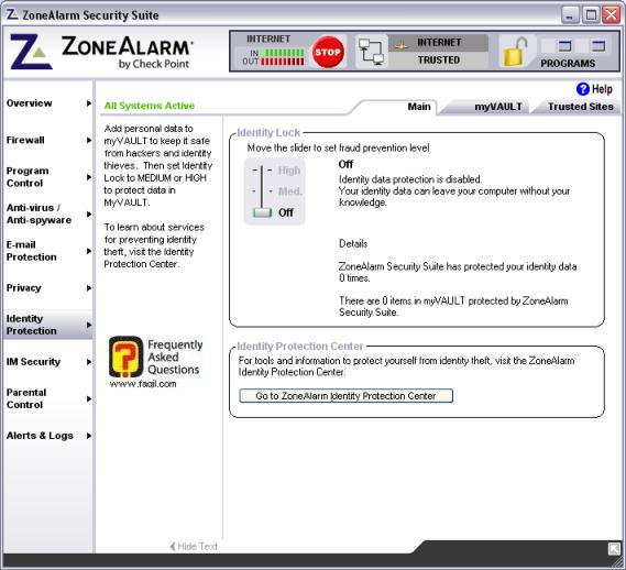 אופציה indentify protection , מרכז האבטחה zone alarm