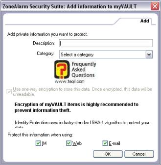 לחיצה על add  תאפשר הוספת מידע , מרכז האבטחה zone alarm
