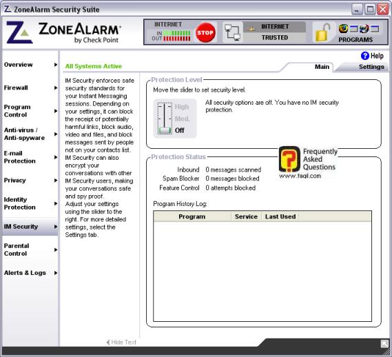 חלון האופציה  IMscurity, מרכז האבטחה zone alarm