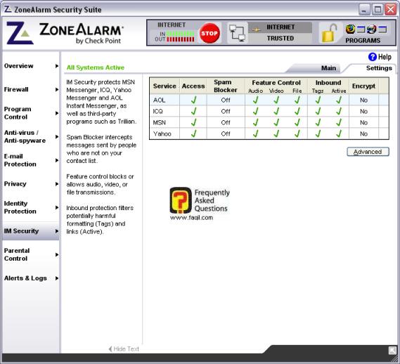 לשונית הגדרות, מרכז האבטחה zone alarm