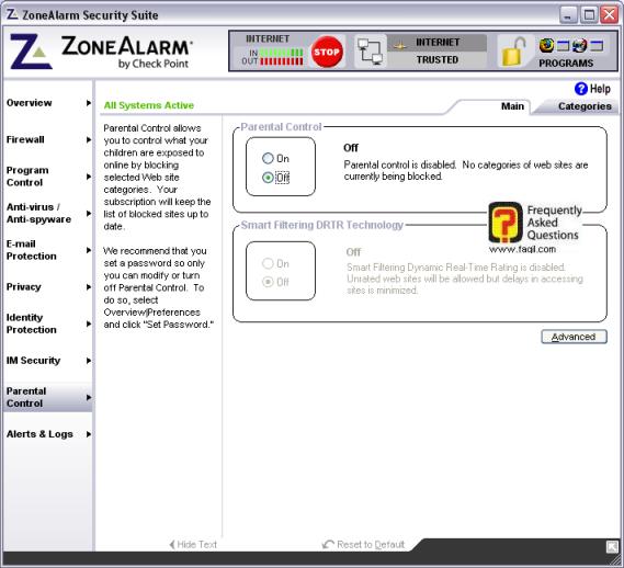 חלון האופציה  Parental control , מרכז האבטחה zone alarm