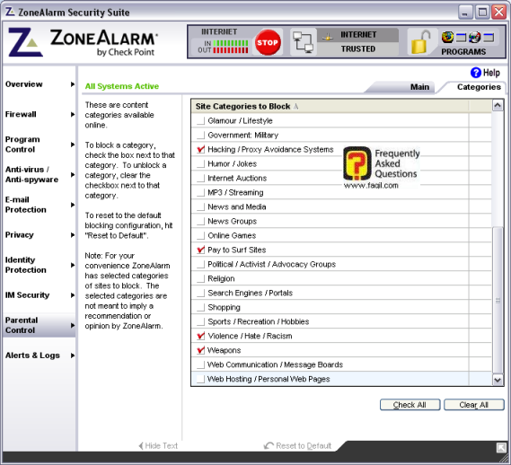לשונית  categories , מרכז האבטחה zone alarm