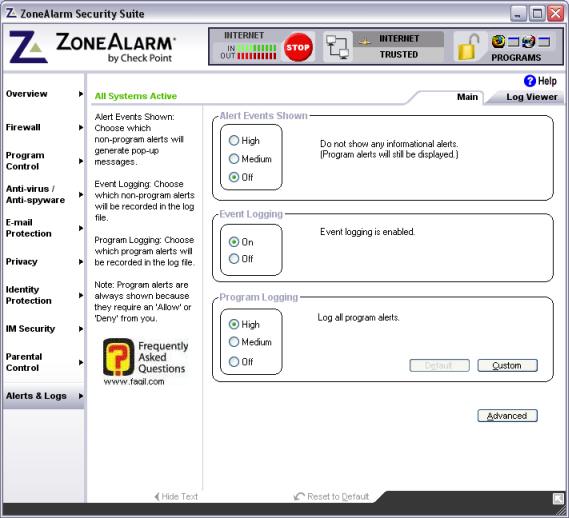 חלון אופציה Alerts & logs  , מרכז האבטחה zone alarm