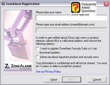 כתיבת שם ואימייל,מרכז האבטחה zone alarm