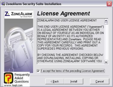 הסכם הרישיון להתקנה,מרכז האבטחה zone alarm