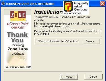 מיקום היעד להתקנה,ZoneAlarm Anti-Virus