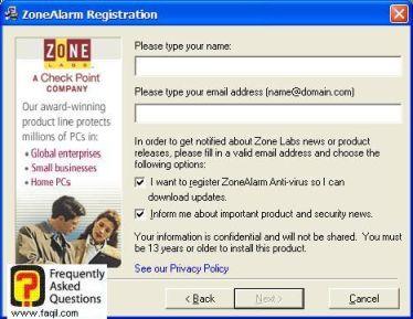 בחרו שם ואימייל,ZoneAlarm Anti-Virus