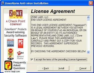 הסכם תנאי שימוש,ZoneAlarm Anti-Virus