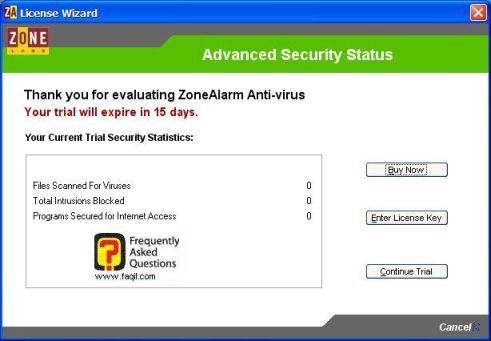 הודעה על ניסיון 15 יום,ZoneAlarm Anti-Virus