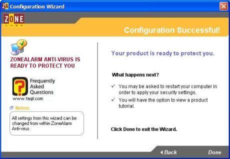 מסך הוגדר בהצלחה,ZoneAlarm Anti-Virus